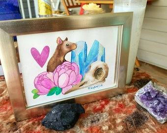 rattylove rat crystal and raven skull still life style framed original