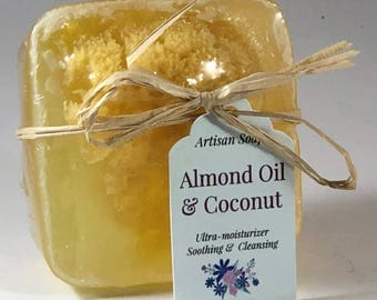 Almond Oil and Coconut soap with Organic Sea Sponge