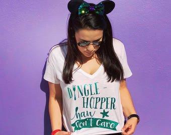 Dingle Hopper hair don't care Disney's Little Mermaid white Vneck (FREE SHIPPING)