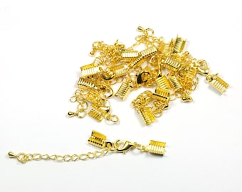 Lot 10 lobster clasps and chains Golden clasps kits
