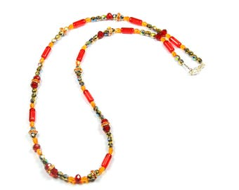 Necklace Crystal and Bohemian facet and red gold rhinestone beads