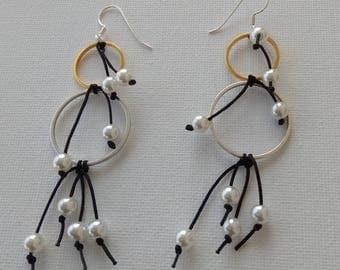 Silver/Gold Earrings with pearls