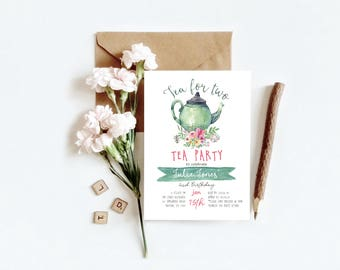 Tea for Two, Tea Party Birthday Invitation//Printable Digital