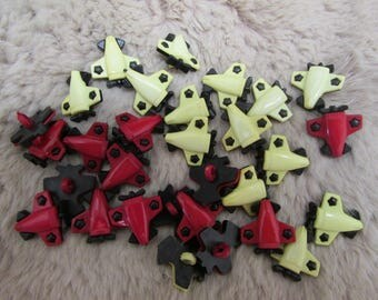 30 Red and yellow airplane buttons sew on shank