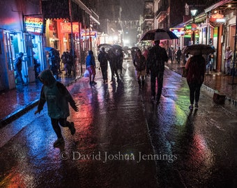 Even the Rain is Music - Bourbon Street in the Rain - New Orleans 2016 - French Quarter - Night - Fine Art Photograph - Street Photography
