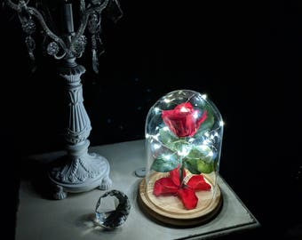 100% Real Red Forever Rose in Glass Dome with copper twinkle lights, Gift for her for Valentines or Anniversary, Enchanted Rose with lights