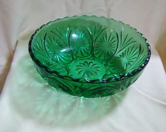 Vintage clear green glass berry bowl.