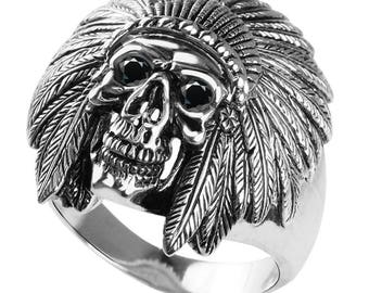 Native American Skull Ring in Solid Sterling Silver