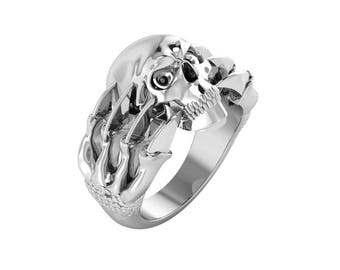 Classy And Fiery Solid Sterling Silver Skull Ring