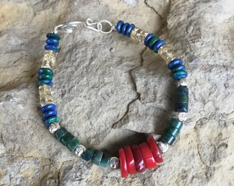 Azurite and Coral Bracelet