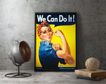 Printable Poster - We Can Do It - Rosie The Riveter, pin up girl, pin up art, pin-up girls, pin-up poster, pin-up print, pin-up girl poster