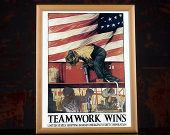 WW2 Industrial American Propaganda Poster - Second World War US USA vintage retro decorations team building for home, office, work, chief