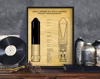 German Grenade Patent Print, WW2 German, drawing, scheme, poster, german army, anti tank grenade, vintage grenade, engineer germany old