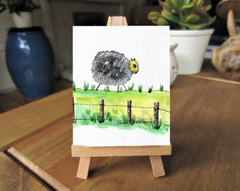 5 x 7, Lone Sheep, Printable art, ink and watercolor, downloadable art, art printables, printable artwork, countryside, sheep, tiny art