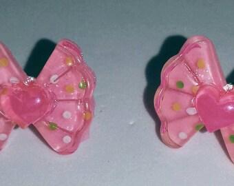 Polkadot bow earrings