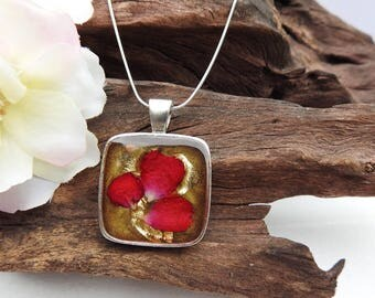 Natural Dried Scarlet Red Rose Petal resin cast Square Antique Silver Pendant with Sterling Silver Snake Chain Necklace
