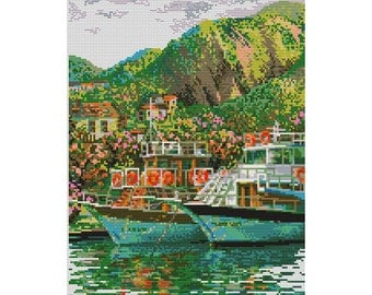 Cross Stitch Pattern Pier yacht ship Harbor mountains counted embroidery