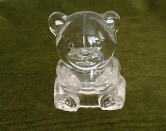 Vintage Glass Teddy Bear Tea Light Holdet