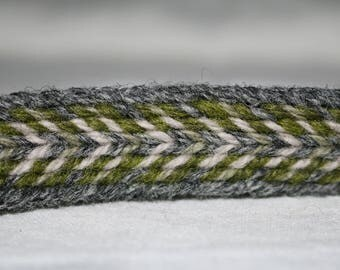 Handmade Green-White-Grey Tablet Woven Viking Trim/Band (100% Pure Wool) 1-4 m Length, Without Tassels