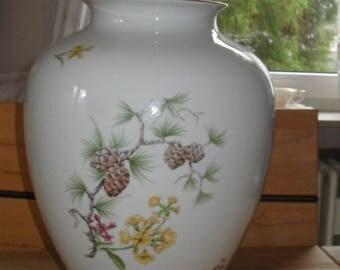 Vintage. Imposing large thick bulbous porcelain vase with floral design. Jaeger & Co