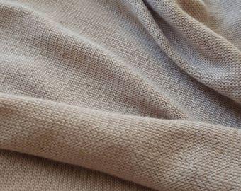 Tan cotton poly lycra blend sweater knit fabric, one yard - cotton blend fabric - textured knit fabric - sweater knit - cotton lycra fabric