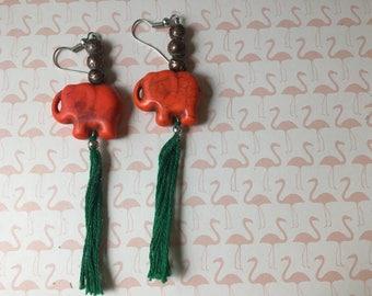 Orange Elephant Earrings