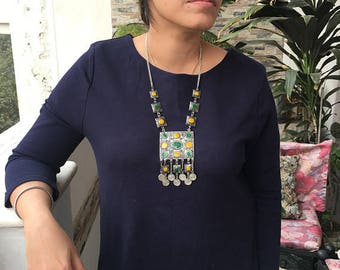 Elegant Necklace Enamel +  Afghan jewelry + Gift for Her + Coin Necklace + Ethnic Tribal Necklace