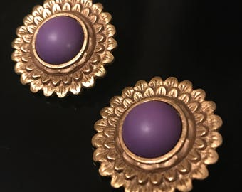 Vintage Gold Flower Earrings with Purple Stone Center