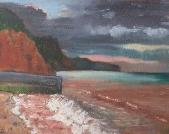 Sunrise, Sidmouth, small unframed original oil painting, canvas on board 5x7""