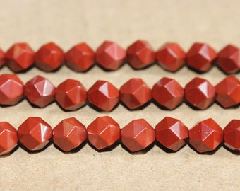 Natural Red Jasper faceted stars cut nugget beads 6mm 8mm 10mm 12mm ,loose beads,semi-precious stone,15 Inches Full strand