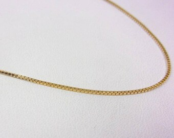 """Solid 14K Yellow Gold 20"""" 0.9mm Box Link Chain Necklace, 2.5 grams"""