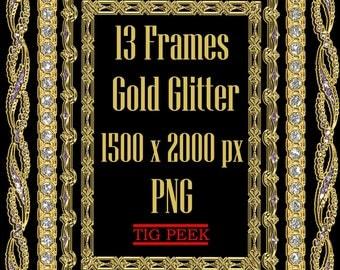 13 Gold glitter frames clipart, digital glitter frame, golden confetti, glitter frame clipart, glitter borders, overlay glitter border