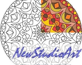 Printable Mandala Coloring Page-Art Therapy-Adult Coloring Page-Antistress-Coloring for Relaxation-Instant Digital Download - MANDALA 006