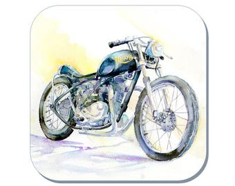 Triumph - Motorbike Coaster (Corked Back). From an original Sheila Gill Watercolour Painting