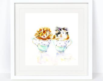 One Lump to Two - Guinea Pigs in Teacups. Print from an Original Sheila Gill Watercolour. Fine Art, Giclee Print, Hand Painted, Home Decor