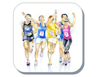 Marathon Runners - Coaster (Corked Back). From an original Sheila Gill Watercolour Painting