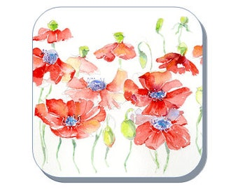 Poppies British Wild Flower Collection (Corked Back). From an original Sheila Gill Watercolour Painting