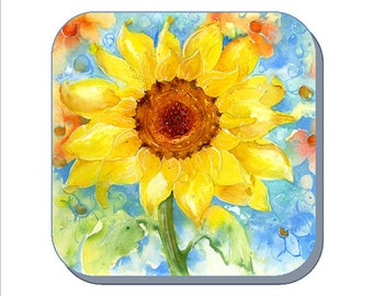 Sunflower Coaster (Corked Back) From an original Sheila Gill Watercolour Painting