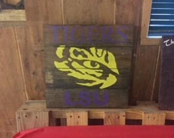 Rustic LSU Eye of the Tiger Wood Sign, LSU Tigers