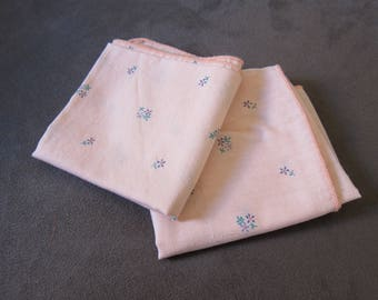 Vintage 1950's Ladies Pink/Floral Handkerchiefs (Set of 2)