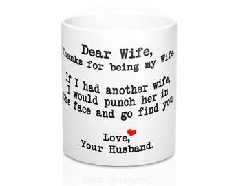 Dear Wife Mug - Dear Wife Punch In The Face Mug - Funny Punch Wife Mug -  Wife Gift - Wife Gift Idea - Sarcastic Mugs - Mugs With Sayings