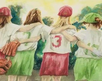 Original Watercolor - Best Friends Off-the-Field, 19x26