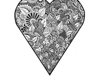 A6 Zentangle Valentines Day Card