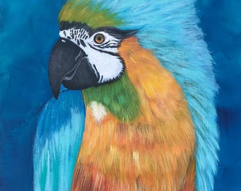 Confidence. Original Acrylic Painting. Blue Parrot. Whimsical painting.