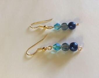 Blue Gradient Dangle Earrings Simple