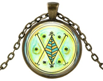 "Ayizan Veve Lwa Veve for Wealth & Secret Knowledge Voodoo Glass Talisman Necklace Pendant in 1"" Round  2"" Huge Oval"