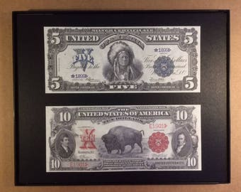 1899 and 1901 Framed Reprint US Currency Bills