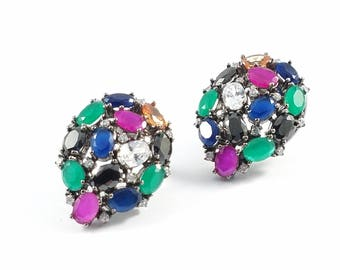 Multi Colored Cubic Zirconia Cluster Stud Earrings