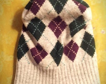 Wool Argyle sweater hat-upcycled and warm! Size M/L