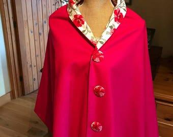 Stunning fuchsia pink wool poncho.
